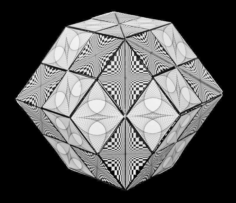8 Geobender Abstrakt zu einem Rombendodekaether kombiniert